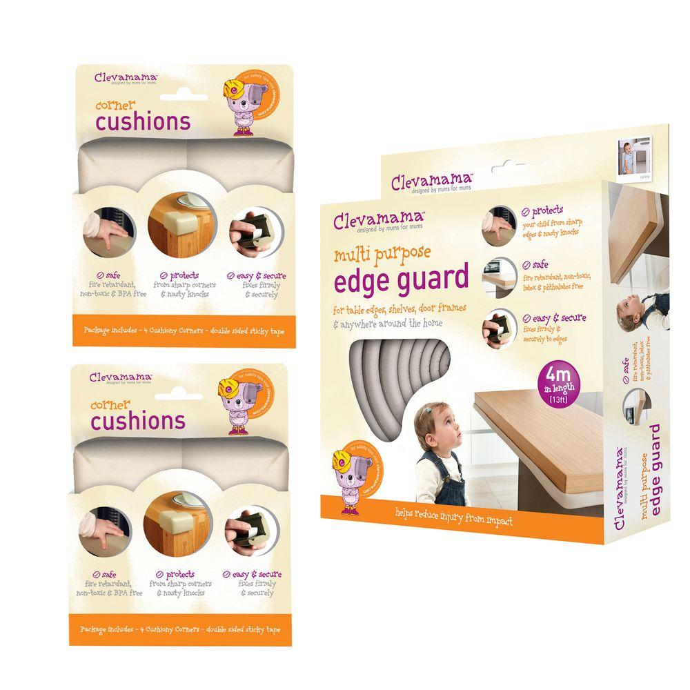 Baby Home Safety Edge Guard and Corner Cushions Set, Beige