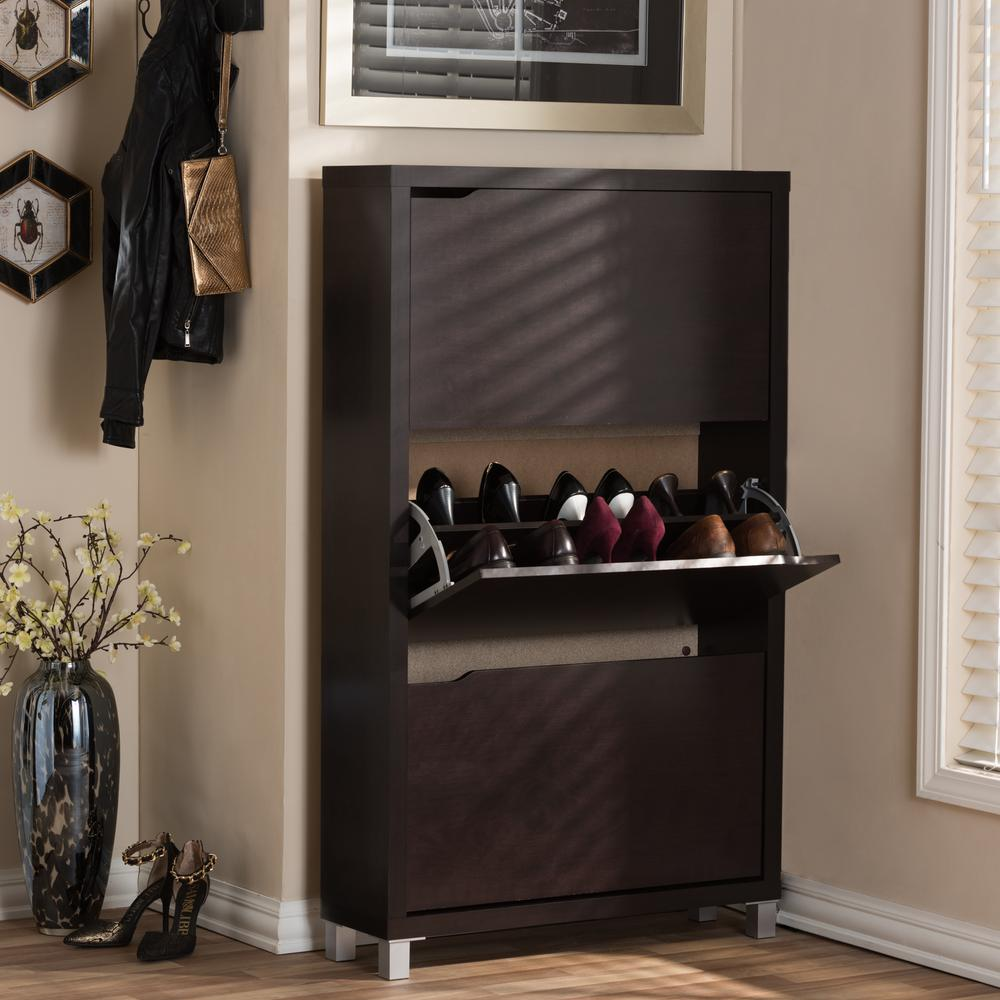 18-Pair Simms Wood Modern Shoe Organizer in Dark Brown