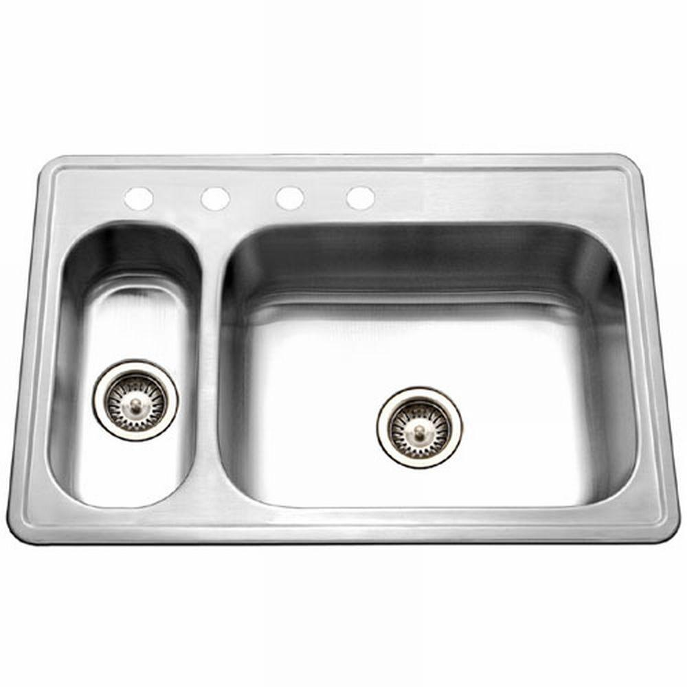 HOUZER Legend Drop-In Stainless Steel 33 in. 4-Hole Double Bowl ...