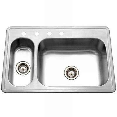 Legend Drop-In Stainless Steel 33 in. 4-Hole Double Bowl Kitchen Sink