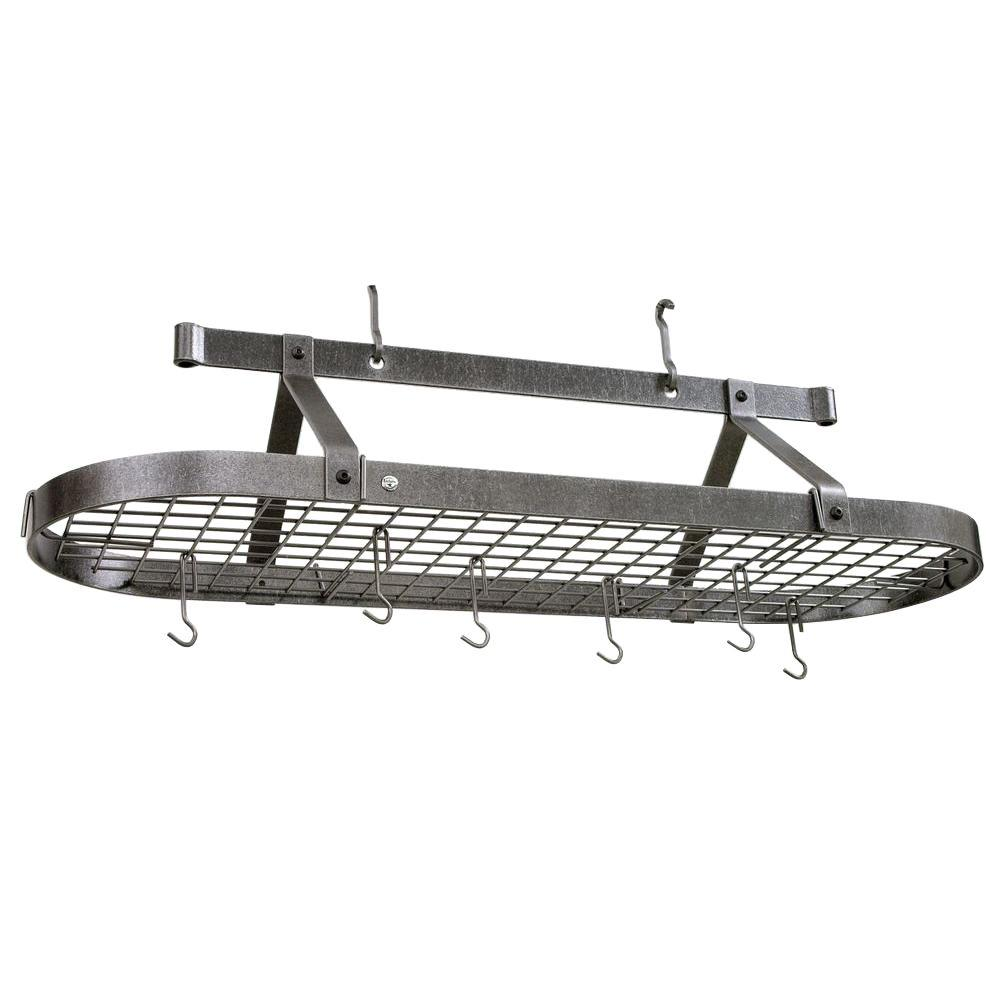 Enclume Premier 4 ft. Oval Ceiling Pot Rack in Hammered Steel