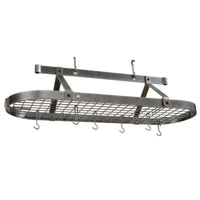 Premier 4 ft. Oval Ceiling Pot Rack in Hammered Steel