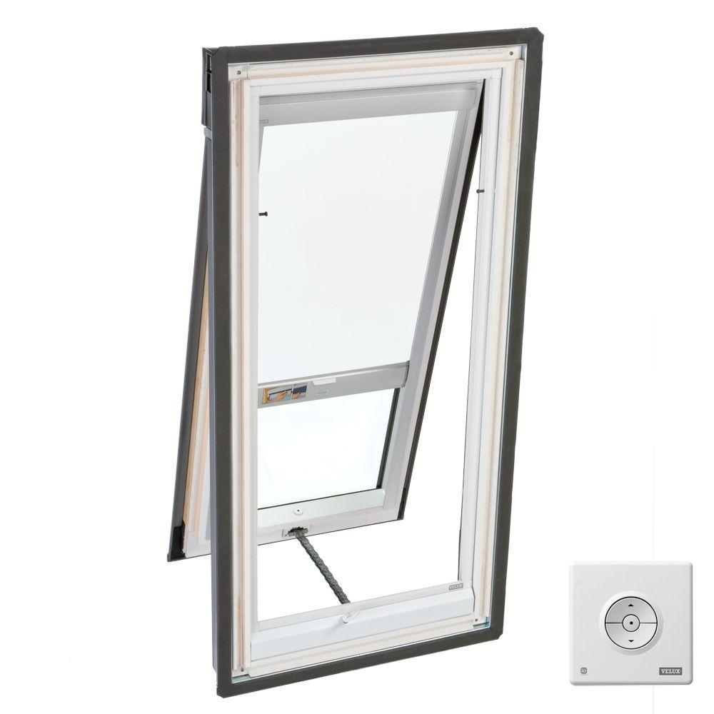 VELUX 21 in. x 45-1/2 in. Venting Deck-Mount Skylight with Tempered LowE3 Glass and White Solar Powered Blackout Blind