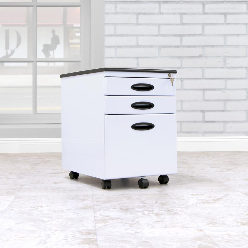 D White Metal 3 Drawer Mobile File Cabinet With Lock And Key