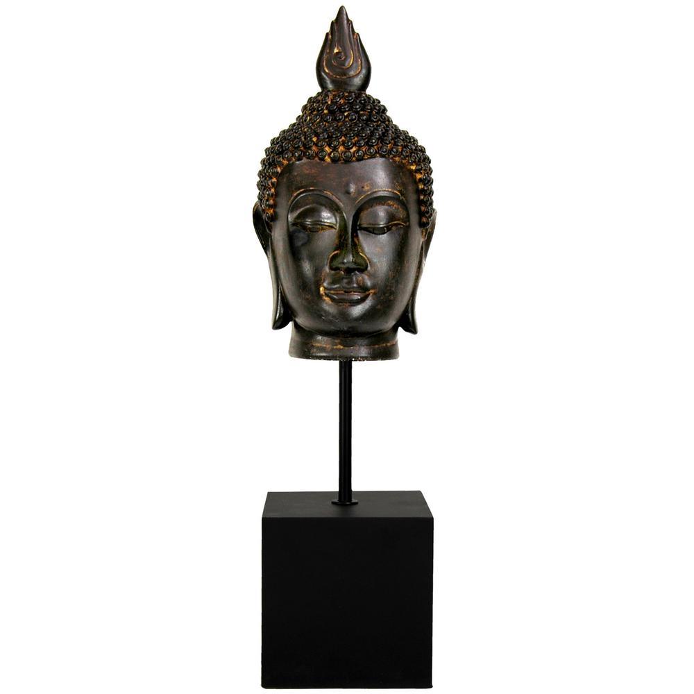Oriental Furniture 19 in. Burmese Buddha Head Decorative Statue