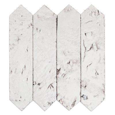 Belle White Elongated Hexagon 2 in. x 8 in. x 8mm Glazed Clay Wall Tile (0.91 sq. ft.)