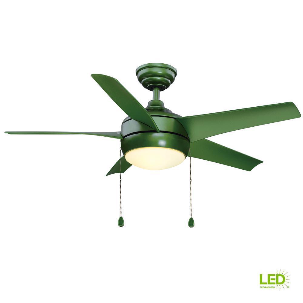 Windward 44 in. LED Green Ceiling Fan with Light Kit
