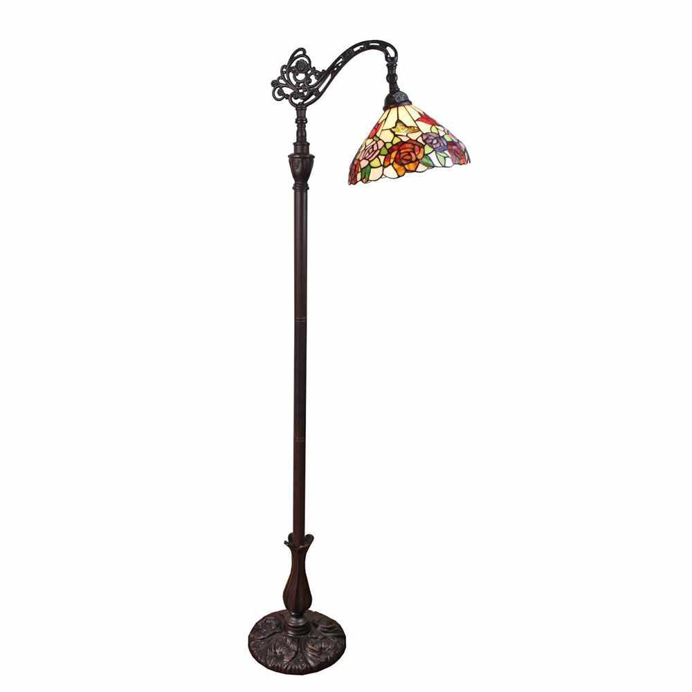 Amora lighting 62 in tiffany style roses reading floor lamp tiffany style roses reading floor lamp mozeypictures Image collections