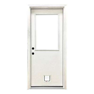 30 in. x 80 in. Classic Half Lite RHIS White Primed Textured Fiberglass Prehung Front Door with Small Cat Door