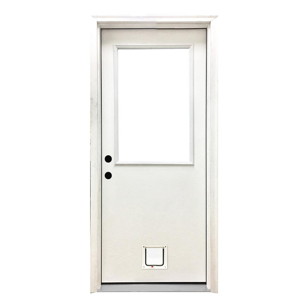 Steves Sons 32 In X 80 In Classic Half Lite Rhis White Primed Textured Fiberglass Prehung