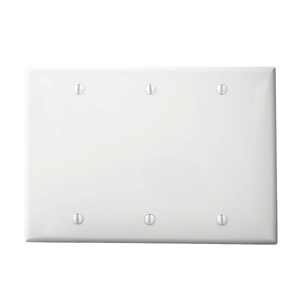 3-Gang No Device Blank Wallplate, Standard Size, Thermoplastic Nylon, Box Mount,