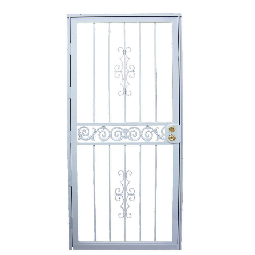 Grisham 32 in. x 80 in. 401 Series White Mariposa Security Door