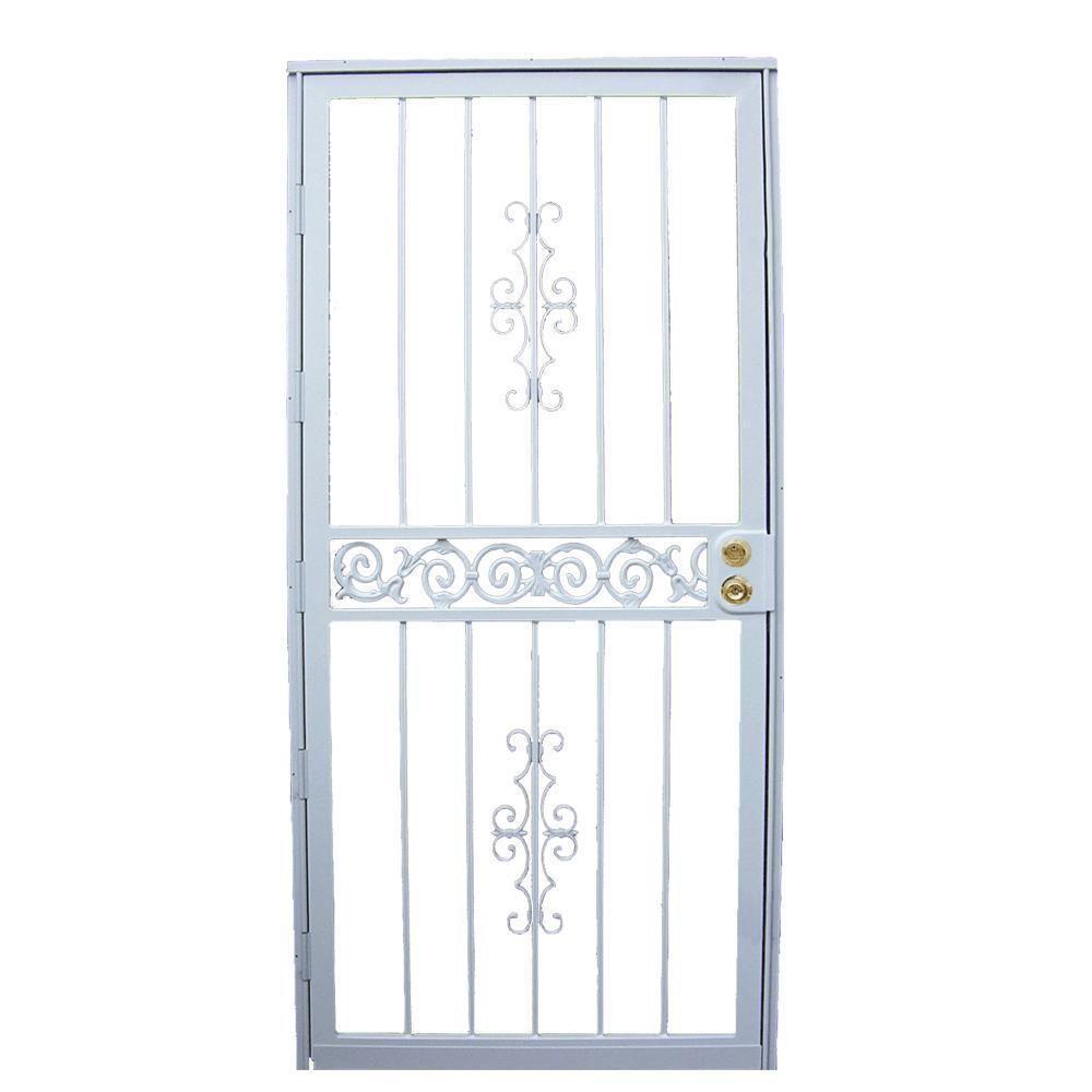 32 in. x 80 in. 401 Series White Mariposa Security Door