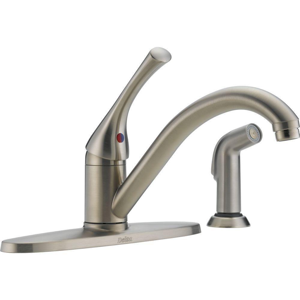 Delta linden single-handle side sprayer kitchen faucet in stainless Delta linden single handle pullout kitchen faucet –