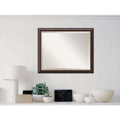Tuscan Rustic Wood 32 in. W x 26 in. H Distressed Framed Mirror