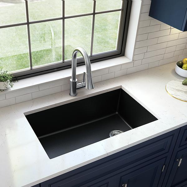 Undermount Quartz Composite 32 in. Single Bowl Kitchen Sink in Black