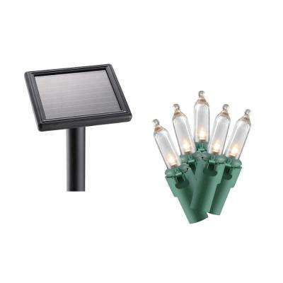 100-Light LED Warm White Smooth Mini Solar Light String