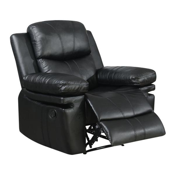 Furniture of America Brody Black Bonded Leather Recliner IDF-6992BK-CH