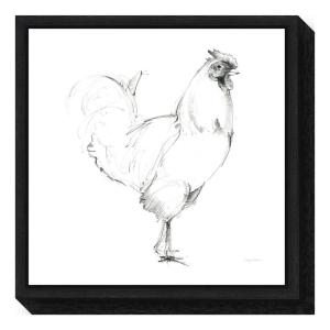 """""""Rooster II Dark Square"""" by Avery Tillmon Framed Canvas Wall Art"""