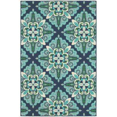 Bayview Blue Aqua 4 ft. x 6 ft. Indoor/Outdoor Area Rug