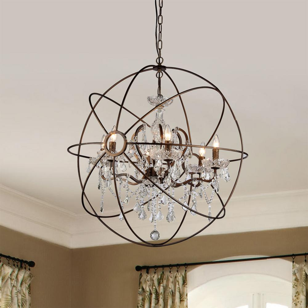 Warehouse of Tiffany Planetshaker II 6-Light Antique Bronze Chandelier with  Shade - Warehouse Of Tiffany Planetshaker II 6-Light Antique Bronze