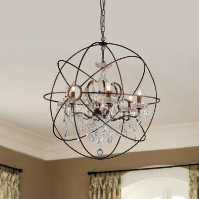 Planetshaker II 6-Light Antique Bronze Chandelier with Shade