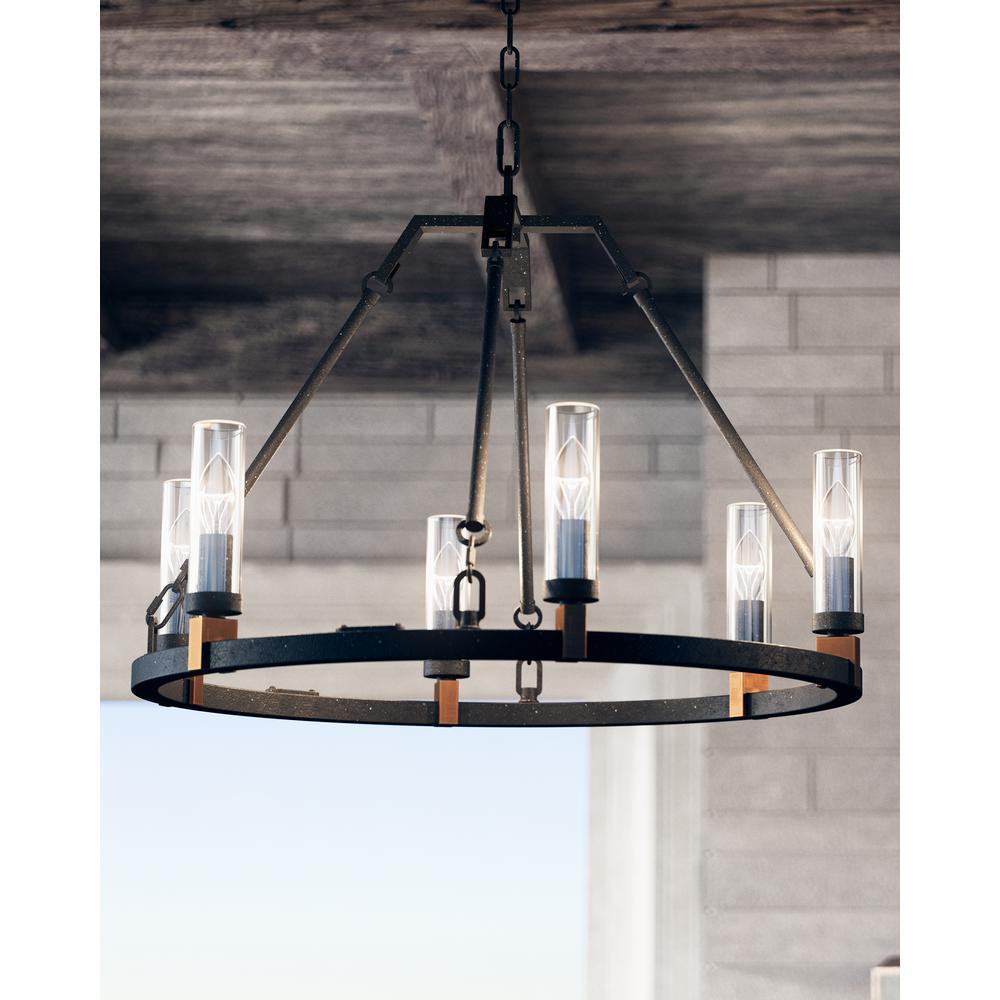 Landen Antique Forged Iron 6-Light Outdoor Hanging Chandelier