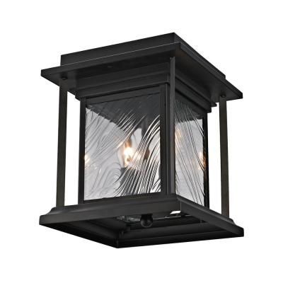 2-Light Transitional Outdoor Flush Mount Light with Watered Glass, Dark Bronze