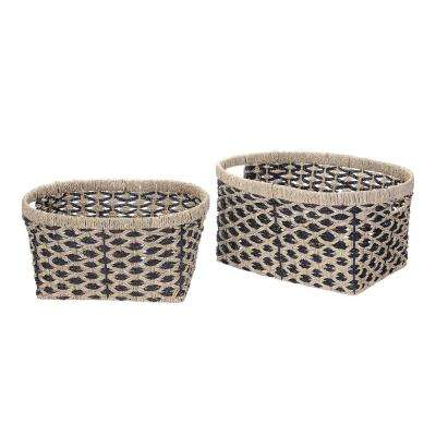 14 in. W x 9 in. H Handmade Water Hyacinth Oval Braided Wicker Nesting Baskets in Black (2-Pack)
