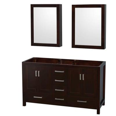 Sheffield 59 in. Double Vanity Cabinet with Medicine Cabinets and Mirror in Espresso