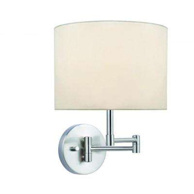 1-Light Polished Steel Swing Arm Wall Sconce