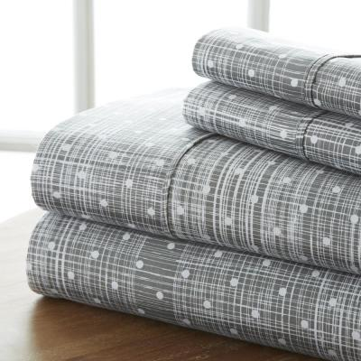 Puffed Chevron Patterned 4-Piece Gray King Performance Bed Sheet Set