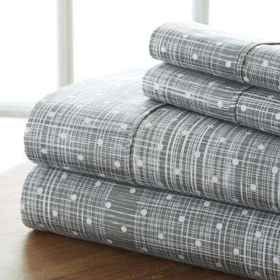 Puffed Chevron Patterned 4-Piece Gray Twin Performance Bed Sheet Set
