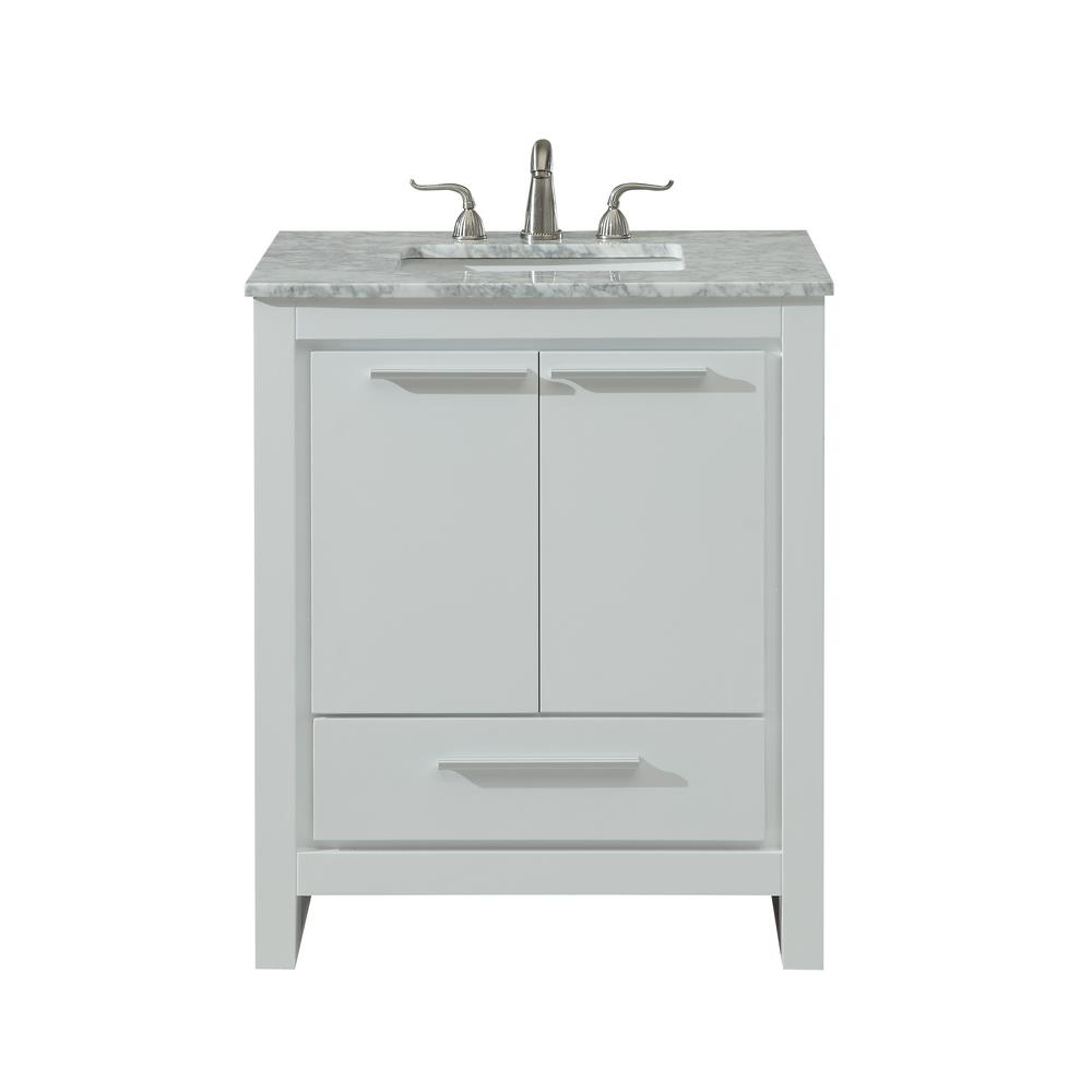 Goodrich 30 in. Single Bathroom Vanity with 1-Drawer 1-Shelf 2-Doors Marble Top Porcelain Sink in White Finish