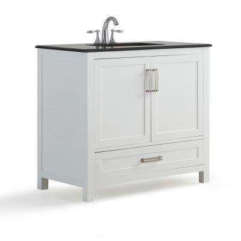 Evan 36 in. W x 21.5 in. D x 34.5 in. H Bath Vanity in White with Granite Vanity Top in Black with White Basin