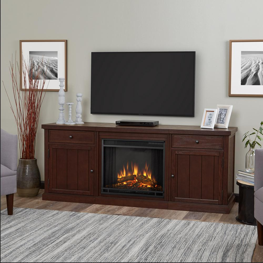 Cassidy 69 in. Electric Fireplace TV Stand Entertainment Center in Chestnut