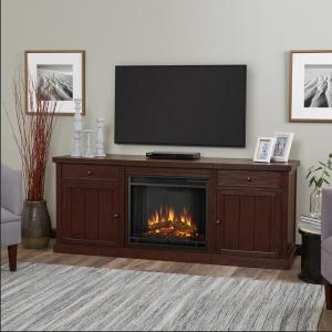 Real Flame Cassidy 69 inch Entertainment Center Electric Fireplace in Chestnut Oak by Real Flame