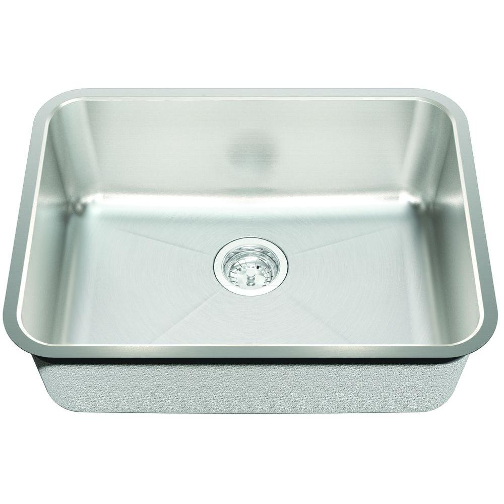 ECOSINKS AceroSelectComboUndermount Stainless Steel 24 3/4x18 3/4x9 0-Hole Single Bowl Kitchen Sink w/Creased Bottom-DISCONTINUED
