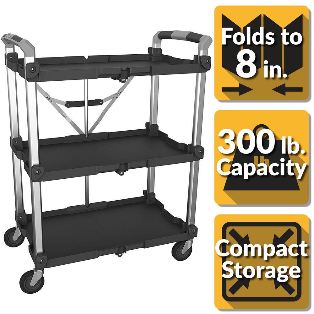 3-Shelf Collapsible 4-Wheeled Multi-Purpose XL Resin Utility Cart in Black/Grey