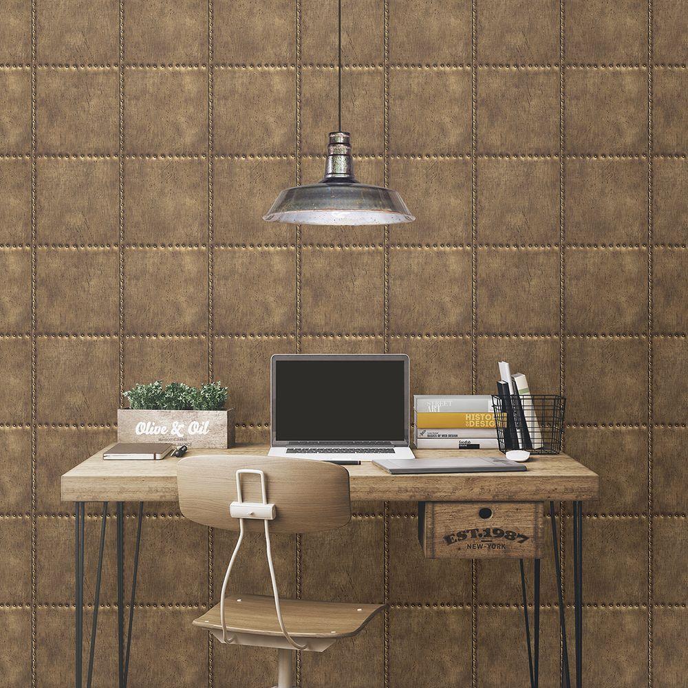 Brewster Brass Sheet Metal Rivets Wallpaper by Brewster