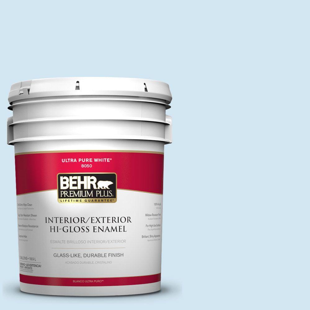 BEHR Premium Plus 5-gal. #550A-1 Sea Sprite Hi-Gloss Enamel Interior/Exterior Paint