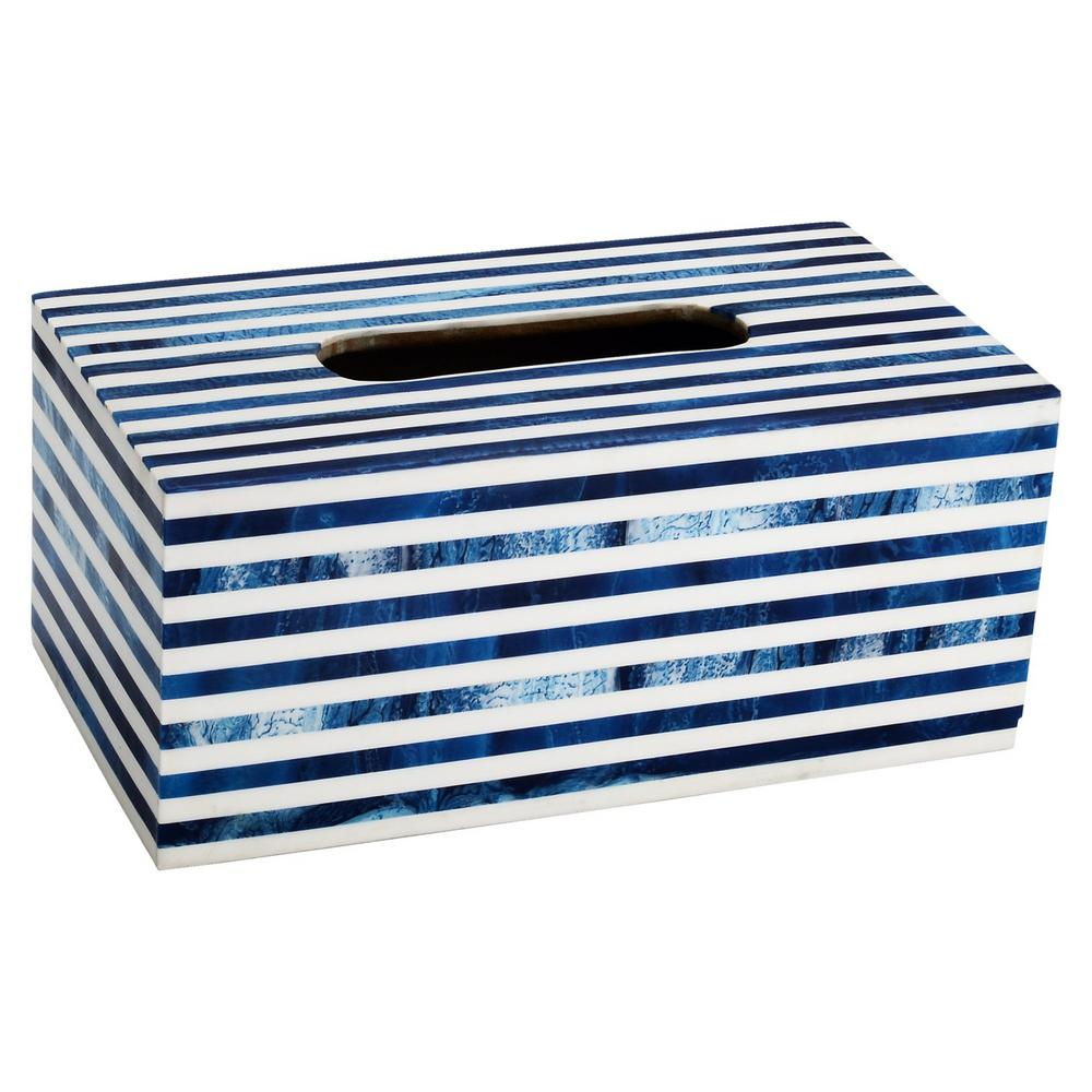 Striped Tissue Box Cover in White and Blue