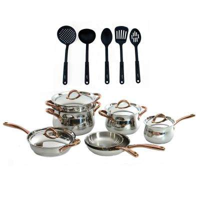 Ouro Gold 16-Piece 18/10 Stainless Steel Cookware Set with Nylon Utensils