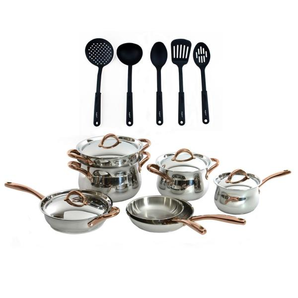 BergHOFF Ouro Gold 16-Piece 18/10 Stainless Steel Cookware Set with Nylon