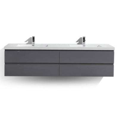 Bohemia 84 in. W Bath Vanity in High Gloss Gray with Reinforced Acrylic Vanity Top in White with White Basins