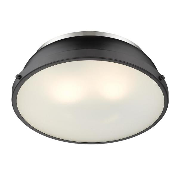 Golden Lighting 3602-14 PW-BLK Two Light Flush Mount Black