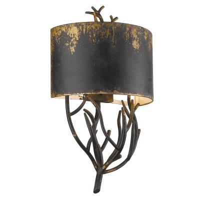 Esmay 4.88 in. Antique Black Iron Sconce with Antique Black Iron Shade
