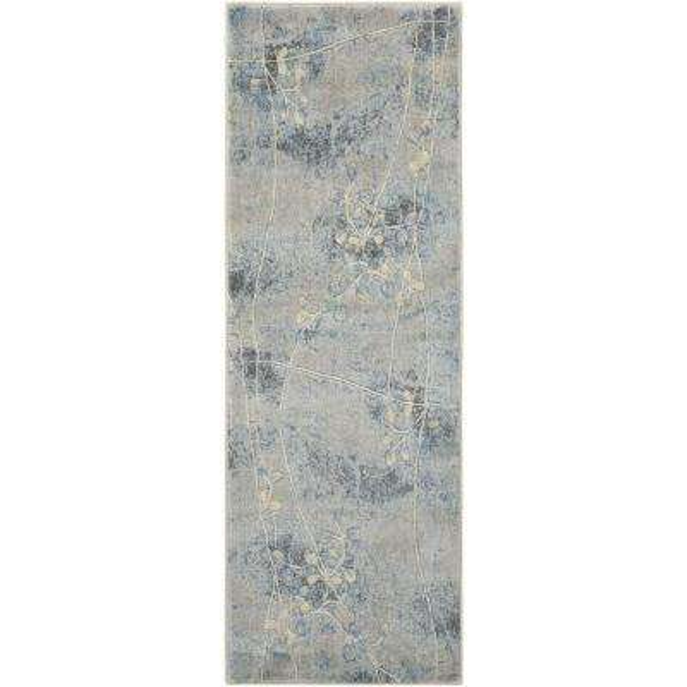 Somerset Silver/Blue 2 ft. x 8 ft. Runner Rug