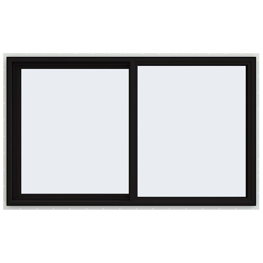 60 in. x 36 in. V-4500 Series Black FiniShield Vinyl Left-Handed Sliding Window with Fiberglass Mesh Screen