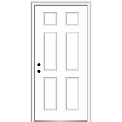 36 in. x 80 in. Right-Hand Inswing Classic 6-Panel Primed Steel Prehung Front Door on 6-9/16 in. Frame